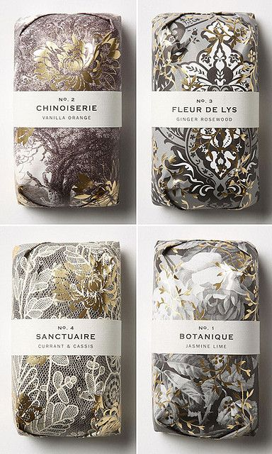 Packaging and scents for Fringe Alchemy Soaps, designed by the in-house team at Anthropologie.