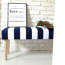 ŁAWKA ławeczka tapicerowana szara pasy paski, meble - pufy, stołki, ławy