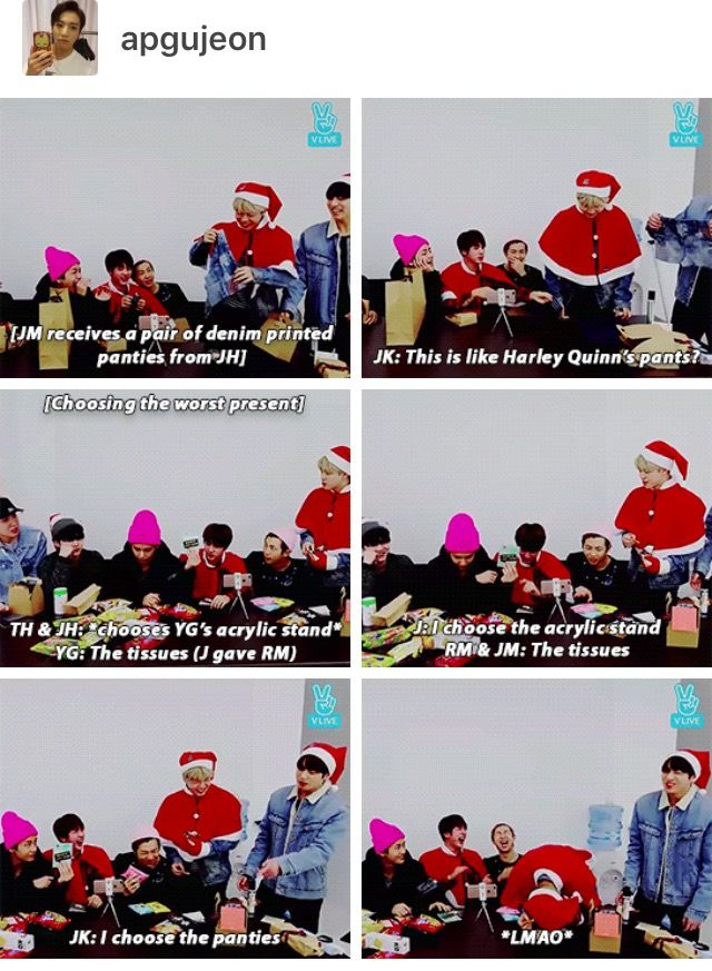 I also love how Hoseok gave the panties and received the present from Namjoon wich were also panties xD