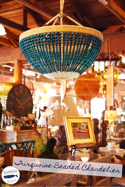 turquoise beaded chandelier - Turquoise Chandelier Light
