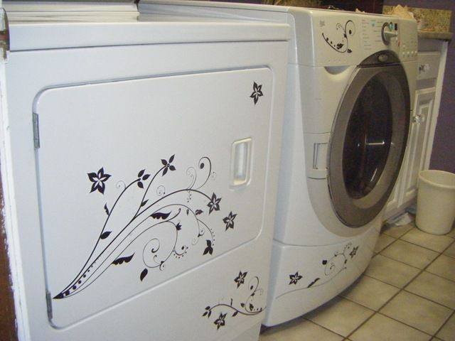 A washer and dryer made fun with paint and vinyl stickers http marykeck