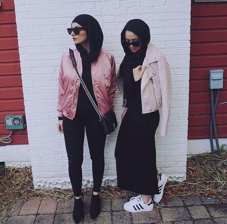 Hijab + All Black + Superstars + Pink Jackets