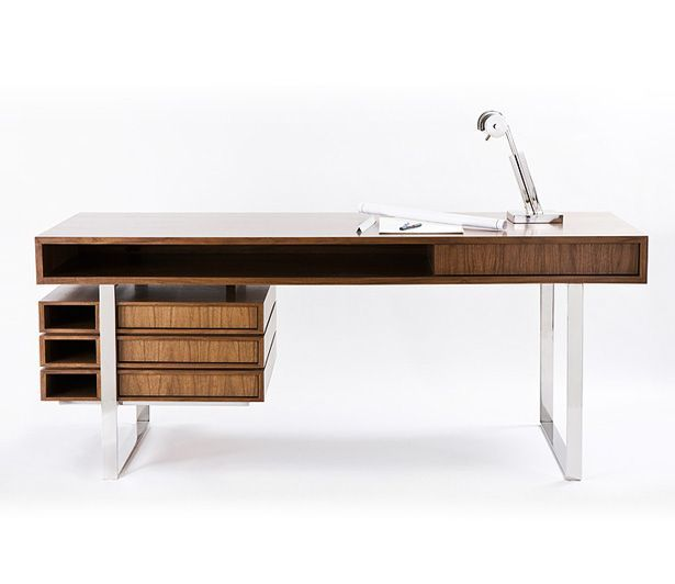 If It's Hip, It's Here: The Walnut & Maple Wood Boxeo Desk by Cliff Young, LTD.