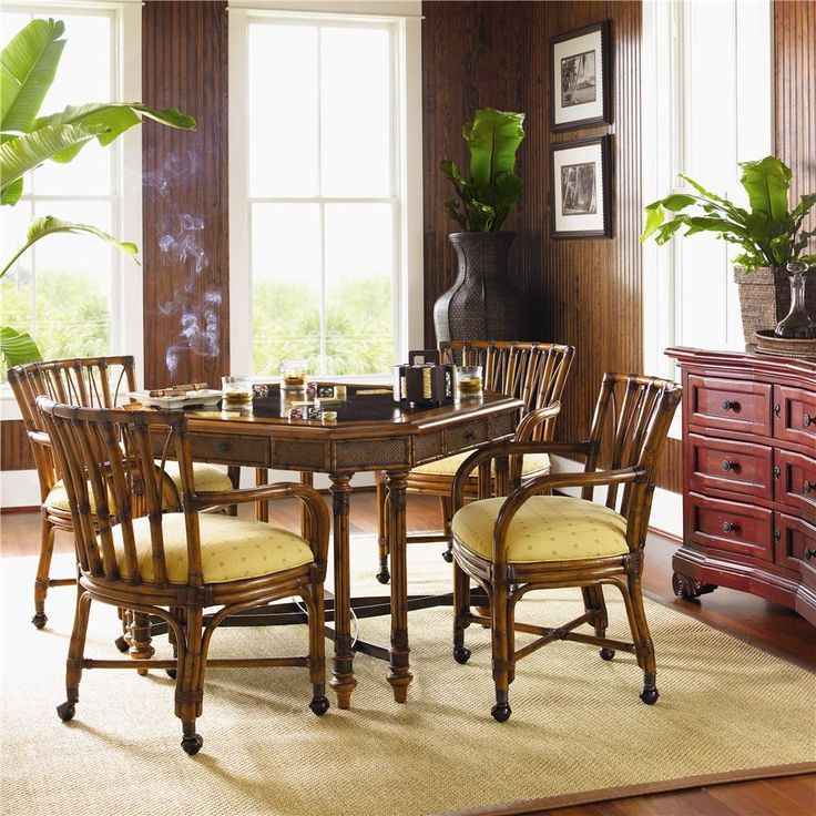 TOMMY BAHAMA HOME ISLAND ESTATE CUSTOMIZABLE SAMBA DINING GAME CHAIR WITH CASTERS AT JOHNNY JANOSIK Table