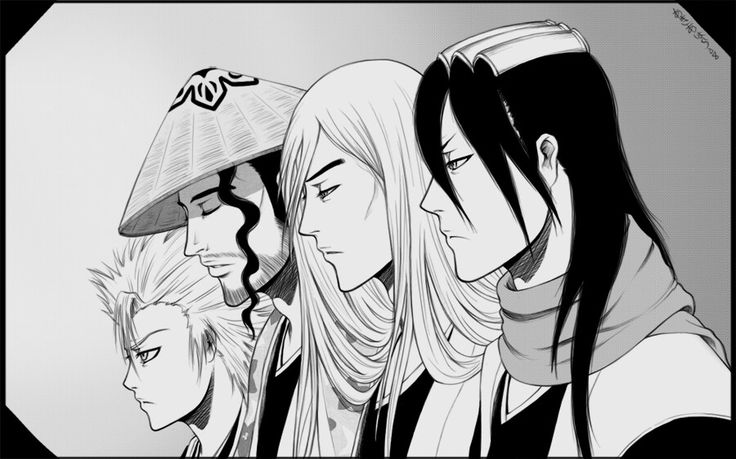 Toshiro, Ukitake, Shunsui & Byakuya fanart by Akiahara @DeviantArt