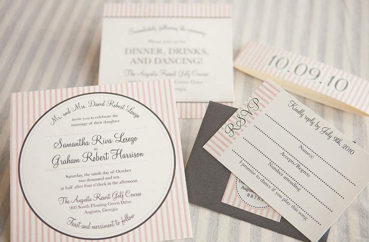 St. Charles Wedding Invitation Suite with Belly Band - Peach Pink, Ivory, Grey and Silver. $3.99, via Etsy.
