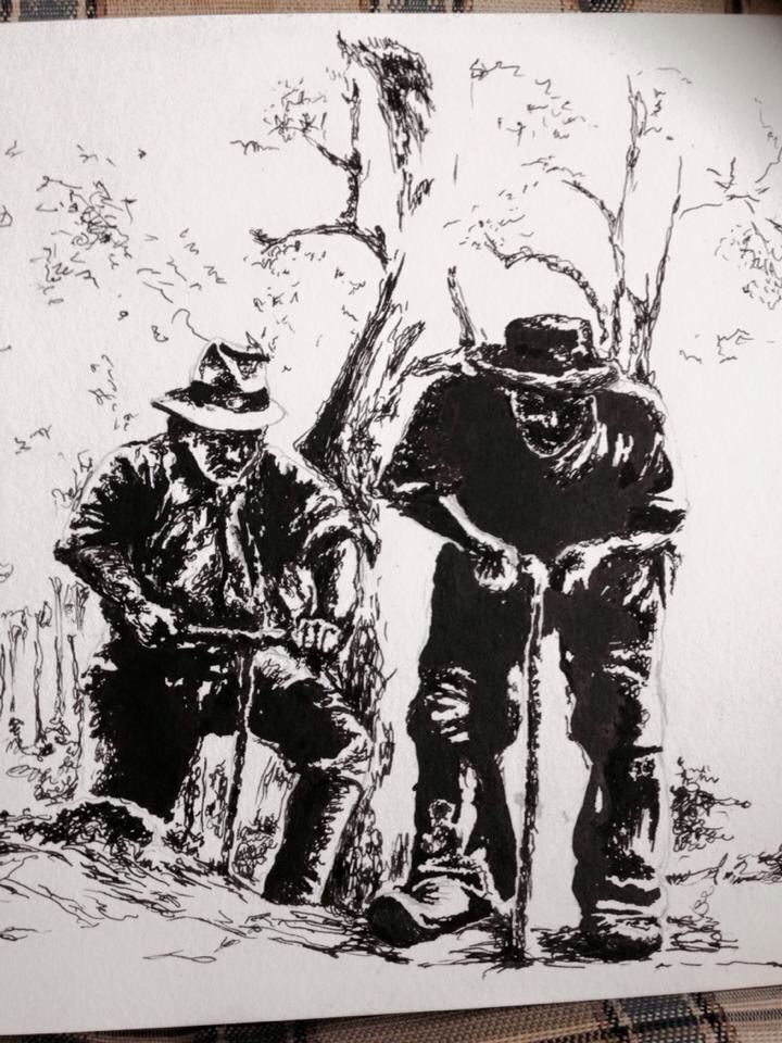 Loggers - pen and ink