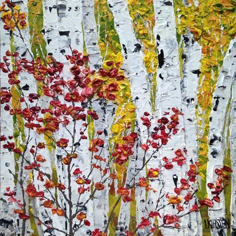 Fall Birches, Acrylic on canvas, 10 x 10 inches