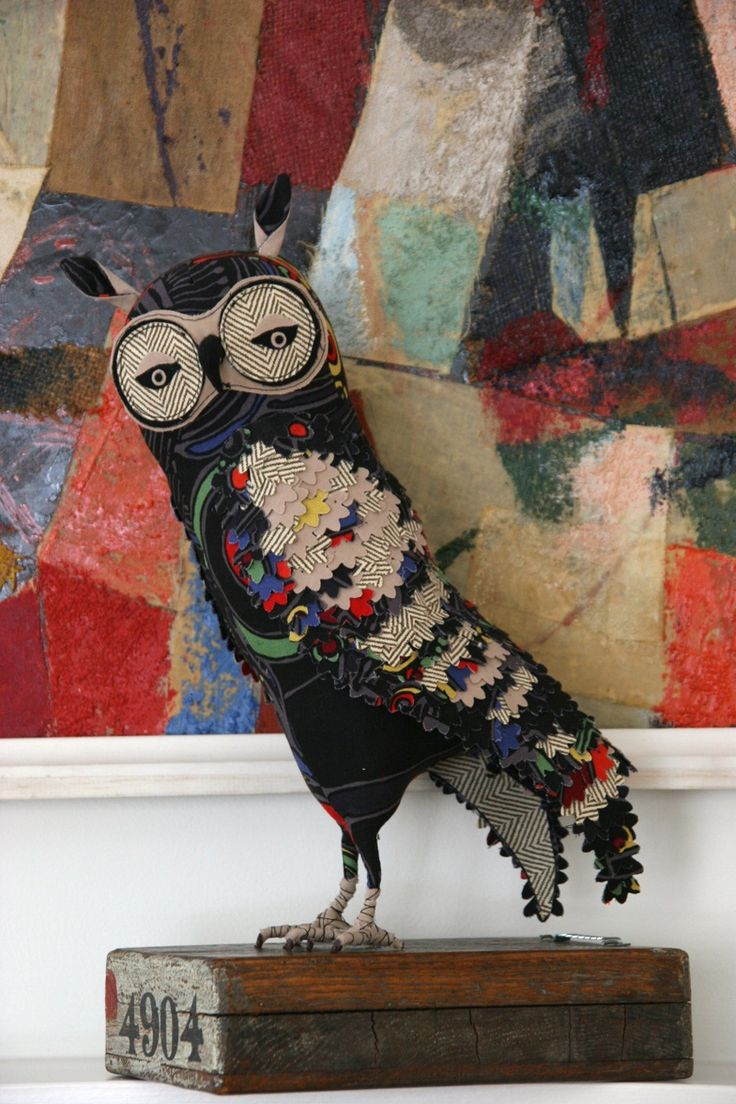 These images from Abby Glassenberg (while she naps blog) of free-standing soft sculpture birds and mixed media collages that incorporate soft sculpture birds are included in the show.
