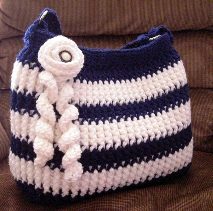 Crochet navy blue and white shoulder bag