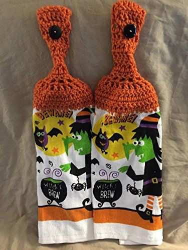 Free shipping to USA included in price - 2 CROCHET KITCHEN hand TOWEL MEDIUM terry cloth - Halloween Witch's Brew bat - BURNT ORANGE acrylic yarn top - smoke free - pet free