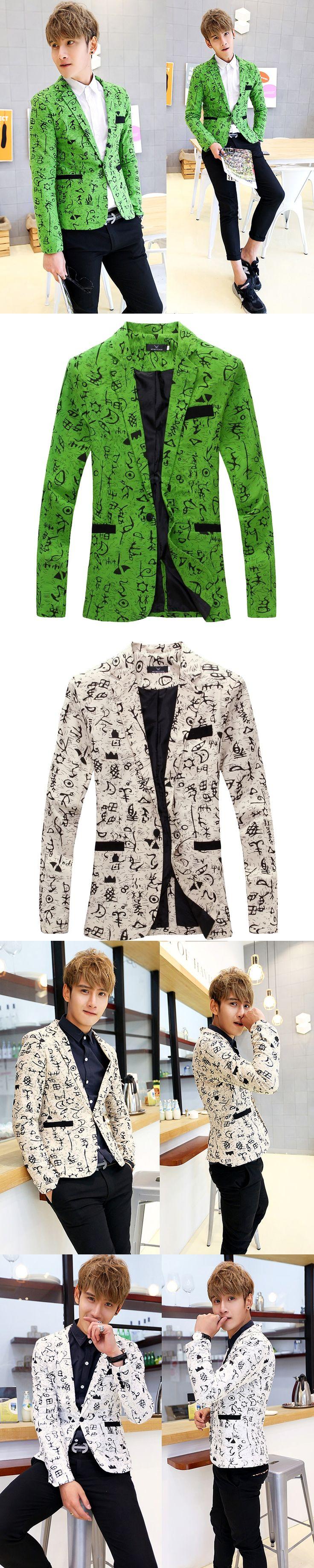Fashion Men Blazer Designs Kpop Single Button Printed Slim fit Blazer Jacket Masculino Casual Suit Stage Wear Costume Homme z15