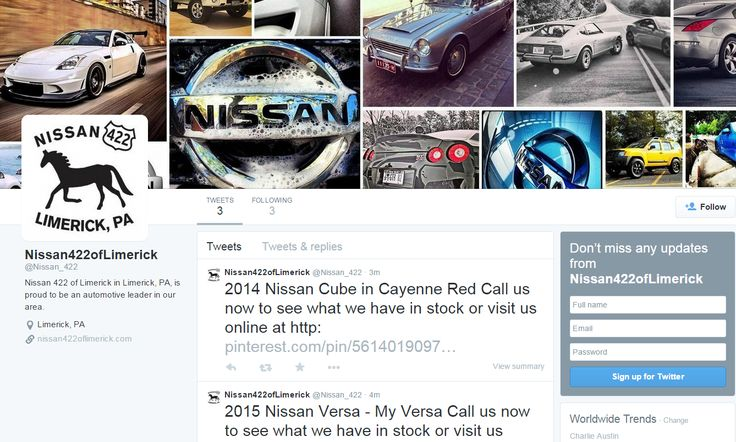 Stay up to date with Nissan of Limerick on Twitter. Follow