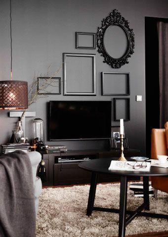 Best Home Living Room Images On Pinterest Island Bathroom - Black wall behind tv