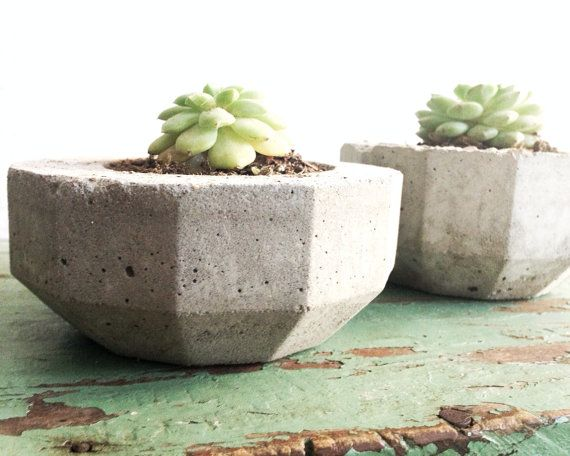 Urban Industrial Cement Planters Modern by pippamarxstudio on Etsy