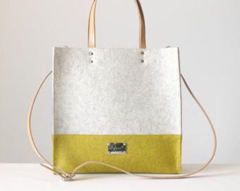 Photo of Felt bag Tote bag leather handles large tote casual tote bag handles in …
