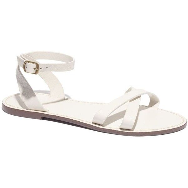 MADEWELL The Crisscross Boardwalk Sandal ($40) ❤ liked on Polyvore featuring shoes, sandals, flats, optic white, white shoes, madewell flats, wrap around shoes, white flats and white flat shoes