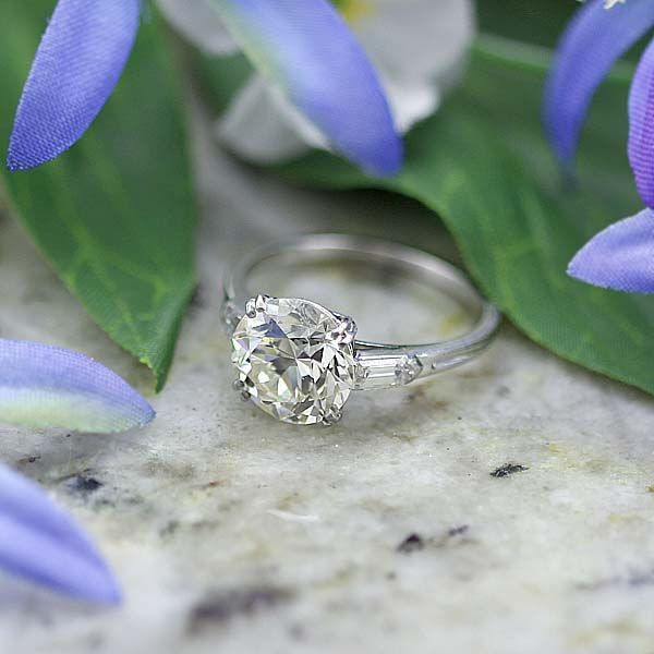 1930s Engagement Ring With 2.85 Ct Old European Cut