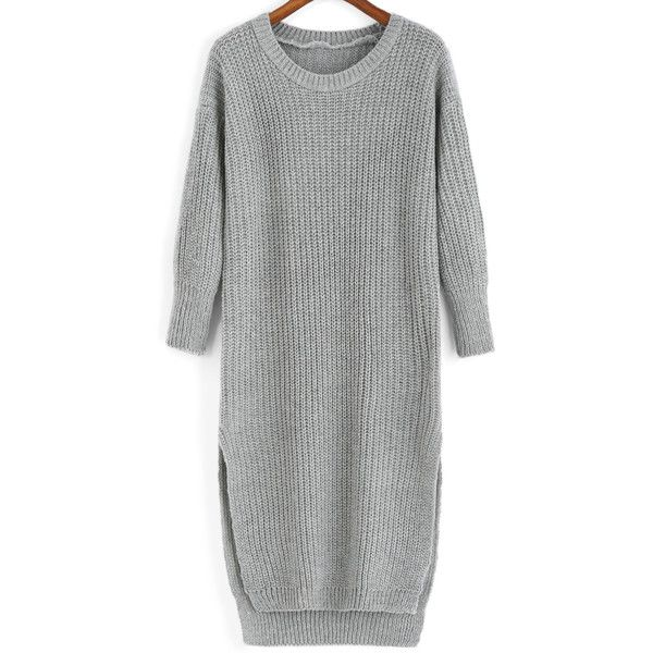 Slit High Low Grey Sweater Dress ($14) ❤ liked on Polyvore featuring dresses, grey, long sleeve sweater dress, high-low dresses, short front long back dress, hi lo dresses and long grey dress