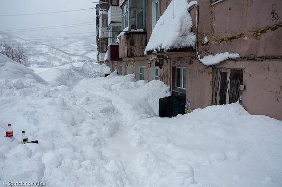 Petropavlovsk-Kamchatsky city covered with deep snow (Kamchatka, Russia)