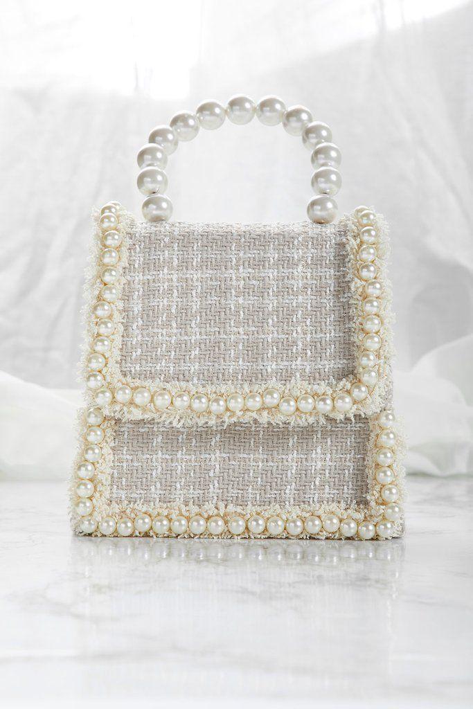 Pearl Handle Tweed Tote Bag  e95ce60bd14fe