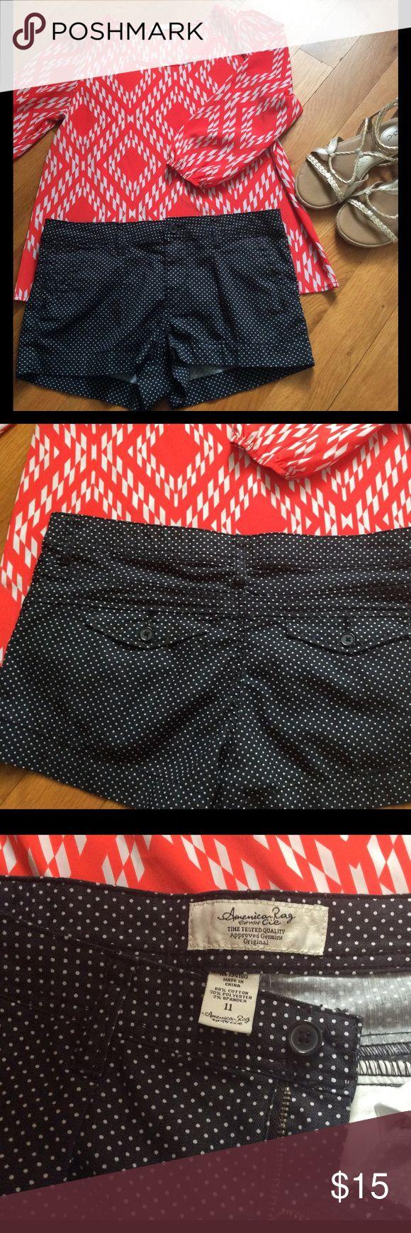 American Rag Jean shorts polka dots size 11 American Rag Jean shorts polka dots size 11 dark dark blue 2% spandex American Rag Shorts Jean Shorts