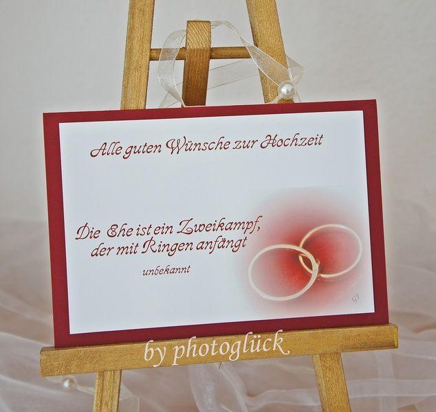 +Alle guten Wünsche zur Hochzeit+    Die Ehe ist ein Zweikampf,  der mit Ringen anfängt +unbekannt+    Hochzeitskarte mit einem wunderschönen Spruc...
