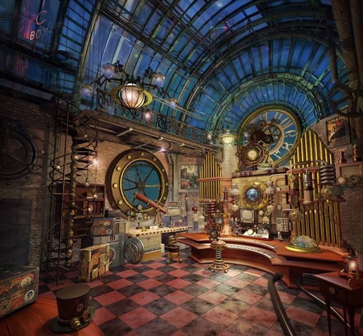 Great inspiration. :) Another pinner said;my J.Vernes steampunk great room!
