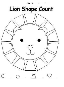 Shape Count Worksheet for Lion Theme from Making Learning Fun.