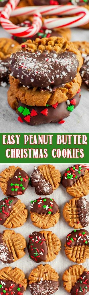 This Easy Christmas Peanut Butter Cookie Recipe is so fun and festive, and takes just 3 ingredients to make! Perfect recipe for a Christmas cookie exchange! #christmas #peanutbutter #cookies via @BackForSeconds