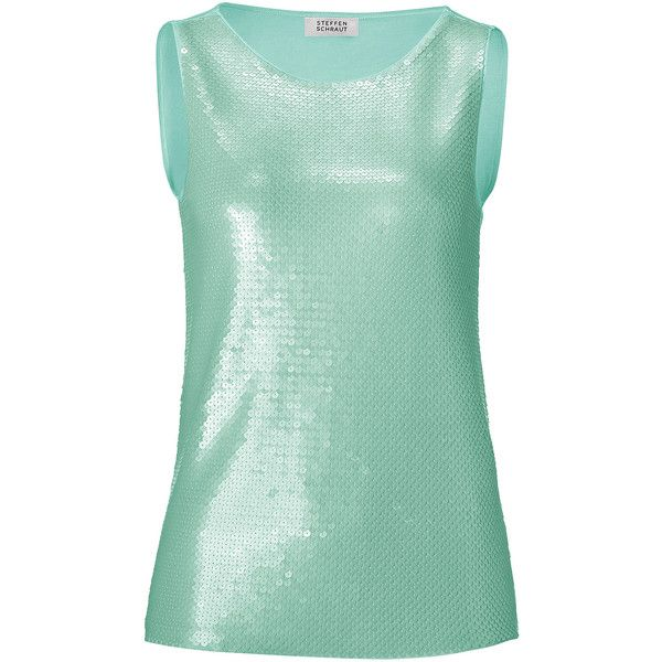 STEFFEN SCHRAUT Water Mint Sequined Front Jackies Top (185 BRL) ❤ liked on Polyvore featuring tops, shirts, tank tops, blouses, sleeveless tops, sequin sleeveless top, green shirt, fitted tops, green top and mint green shirts