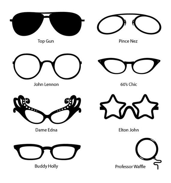 Comedy Fun Celebrity Glasses for the mirror, wall decal (vinyl cut sticker)