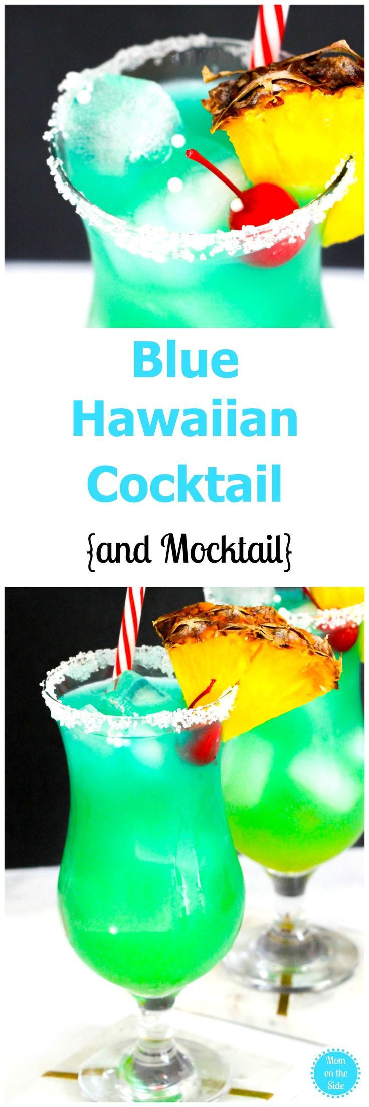 If you want a cocktail that makes you feel like you are on the beach, this Blue Hawaiian Cocktail is it! Plus, I've got a mocktail version as well! via @momontheside