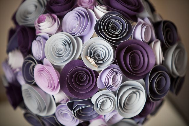 Paper rose bouquet, very pretty mix of purples.