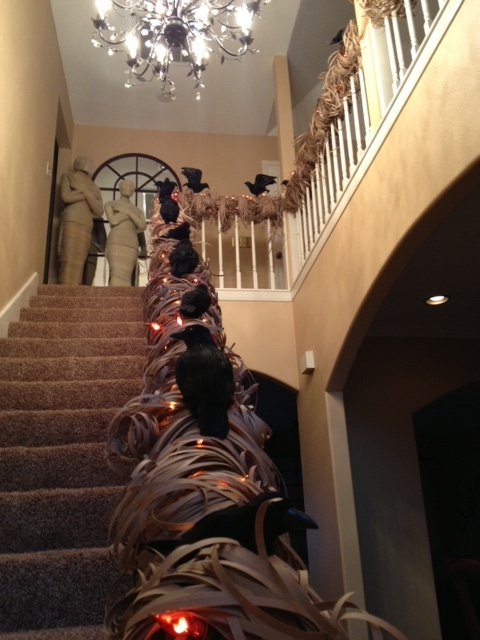 Halloween Staircase Decorated With Orange Mini Lights, Large Orange Flicker  Lights, Brown Craft Paper