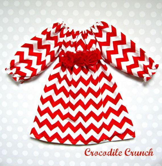 Baby Girl Candy Cane Chevron Dress  Red Chevron by crocodilecrunch,