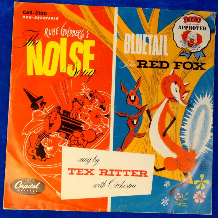 RUBE GOLDBERG's Noise Song by Tex Ritter + Bluetail the Red Fox 1951 Bozo the Clown Approved Childrens Kids 78 RPM Capitol Records