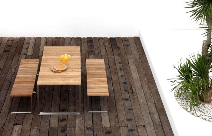 Axis  Table and Bench - Green Line from Zebra Outdoor Furniture