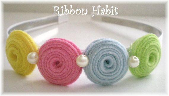 by Ribbonhabit ||| flower, felt, pearl, hair, accessory, band, bow, clip, ribbon, fabric, swirl