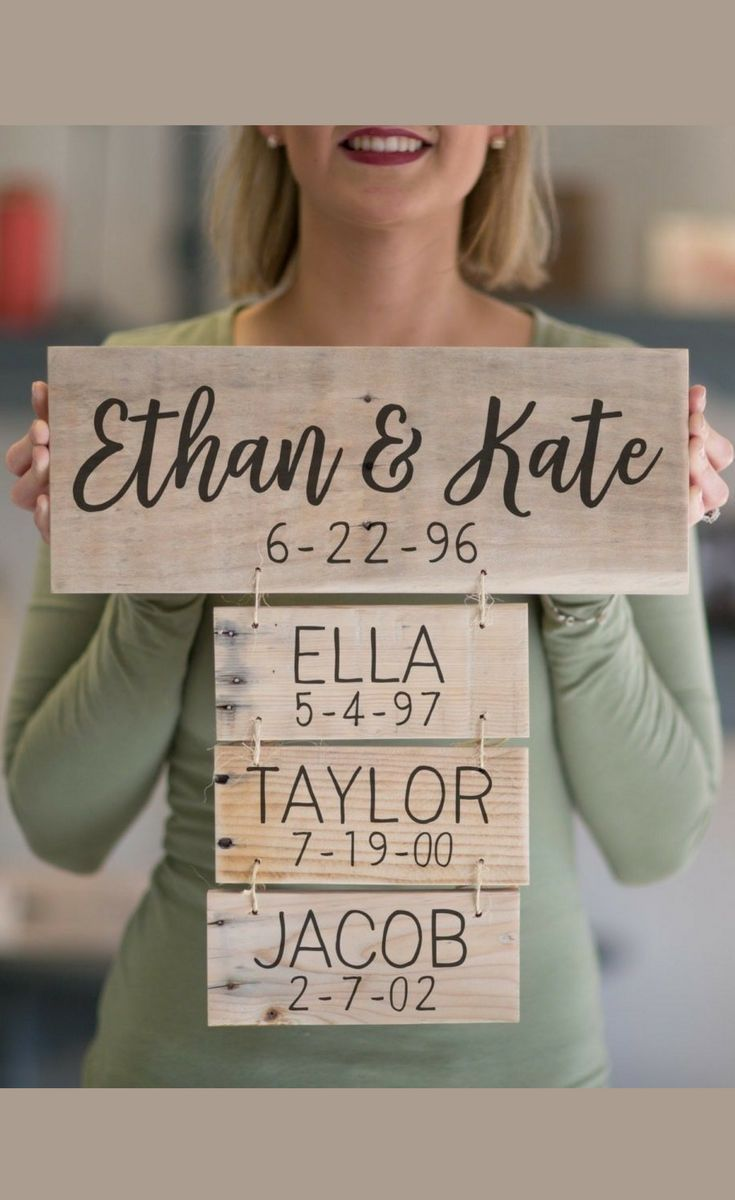 Details about Anniversary Gift | Family Names Wood Sign | Personalized Family Name Signs