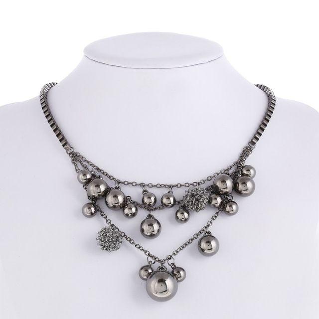 2016 новый Горячий Продажа Мода марка ювелирные изделия Чешский Черный Металлические Бусины кос Box Цепи Ожерелья для женщин Колье Бесплатная Доставка