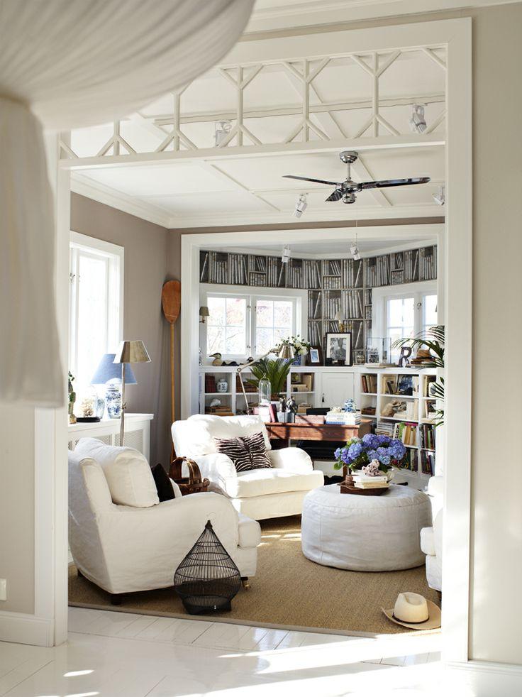 Vardagsrum - beige väggfärg