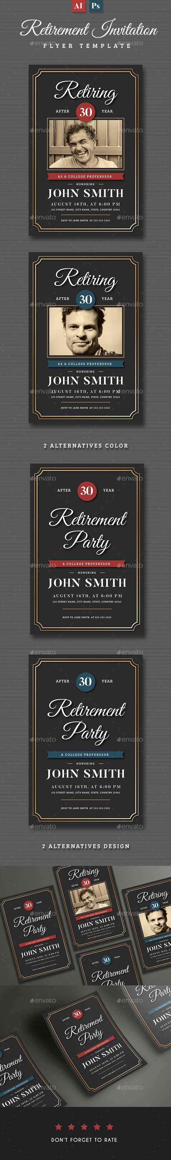 #Retirement #Invitation Flyer Templates - Invitations #Cards & Invites