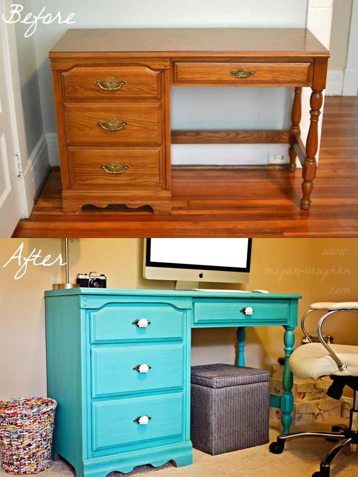 Office desk redo. <3 I want this desk!! Would clash horribly in my room though..