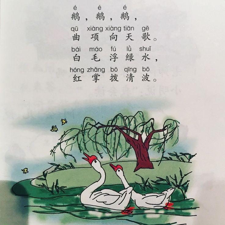 Для тех, кто интересуется китайской поэзией, должно быть интересно, какое стихотворение из всего огромного наследия китайские дети учат первым. Узнать это просто - надо всего лишь посмотреть в учебник китайского языка за первый класс.  Первым идет вот это прекрасное стихотворение:  《詠鵝》駱賓王  鵝 鵝 鵝 曲項向天歌 白毛浮綠水 紅掌撥清波   Воспевая гуся (Ло Бинь-ван)  Га-га-га Выгнув шею к небу поет Белые перья по зеленой плывут воде Красные лапки взбивают чистые волны