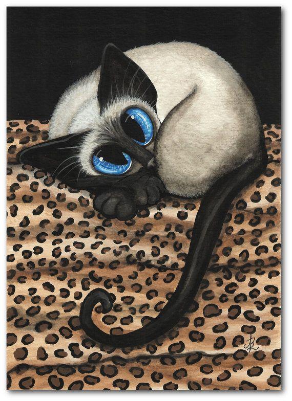 Siamese Cat Leopard Print Blanket Pet ArT - 5x7 Print by AmyLyn Bihrle via Etsy