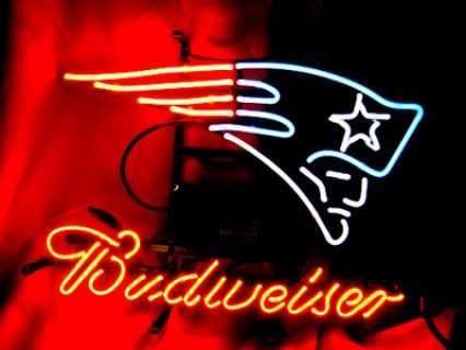 """NFL NEW ENGLAND PATRIOTS BUDWEISER BEER BRA NEON LIGHT SIGN 16"""" X 14""""- Free Shipping Worldwide  ~ Voltage: 100-240v UL Transformers from NeonPro - Workable in all countries - US, UK, Canada, Japan, Australia, European Countries, & Others.  ~ Payment: Paypal / Credit Cards / Western Union.  ~ Delivery Time: 9-15 days to USA/Canada/Japan/Australia/Asian Countries; 12-18 days to European Countries/South American Countries; via a USPS/Hongkongpost/Canadapost tracking number, directly shipped…"""