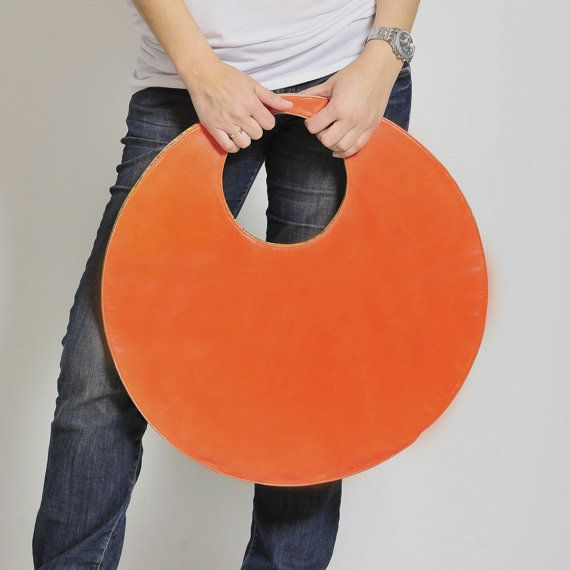 Circle handbag. Large leather handbag, made of best quality genuine leather. 2 sides 2 colours - one side is orange, and the other side is khaki