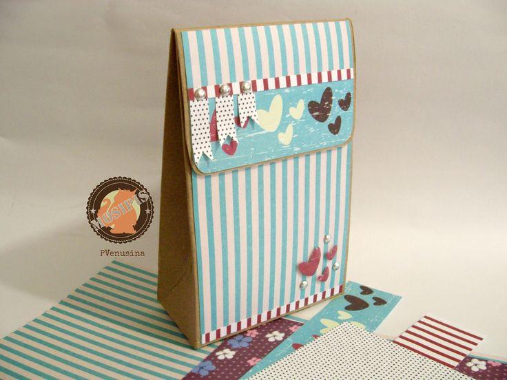 Caja de cereal alterada como bolsa de regalo - Colección Shabby Chris - Hoja Líneas Menta