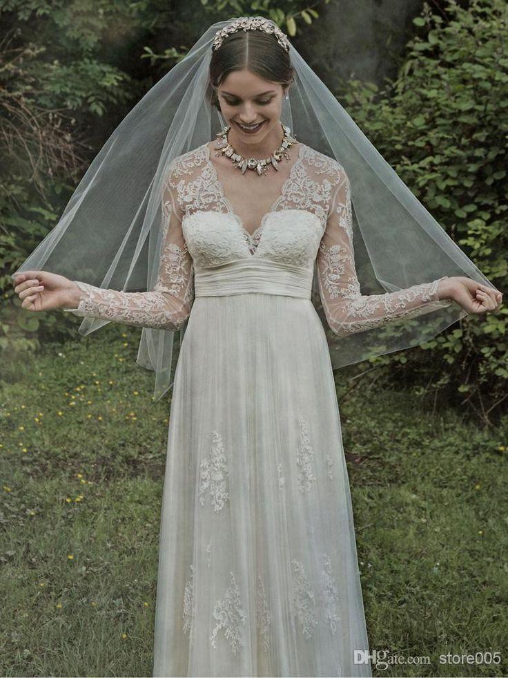 2015 Greek Lace Beach Long Sleeve Wedding Dresses A Line V